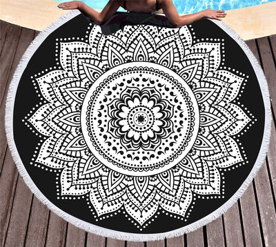 Indian Round Beach Towel Boho Tassel Mandala Lotus Tapestry Floral Black and White 150cm - Dropshipful.com