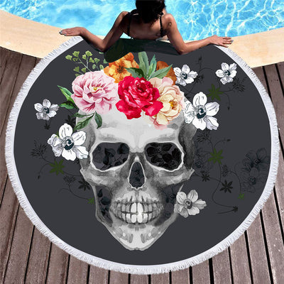 Sugar Skull Round Beach Towel Floral Tassel Tapestry Black and White Flower  150cm - Dropshipful.com