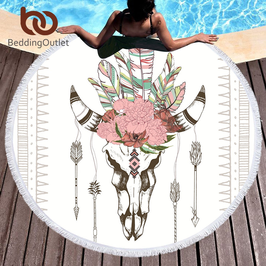 Dropshipful Bull Head Skull Round Beach Towel Feathers Floral Tassel Tapestry Illustration of Skeleton Yoga Mat Toalla Blanket - Dropshipful.com