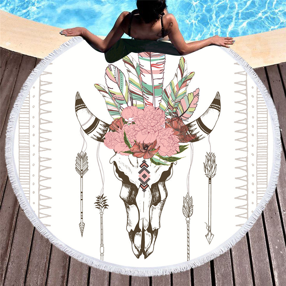 Bull Head Skull Round Beach Towel Feathers Floral Tassel Tapestry Illustration of Skeleton 150cm - Dropshipful.com