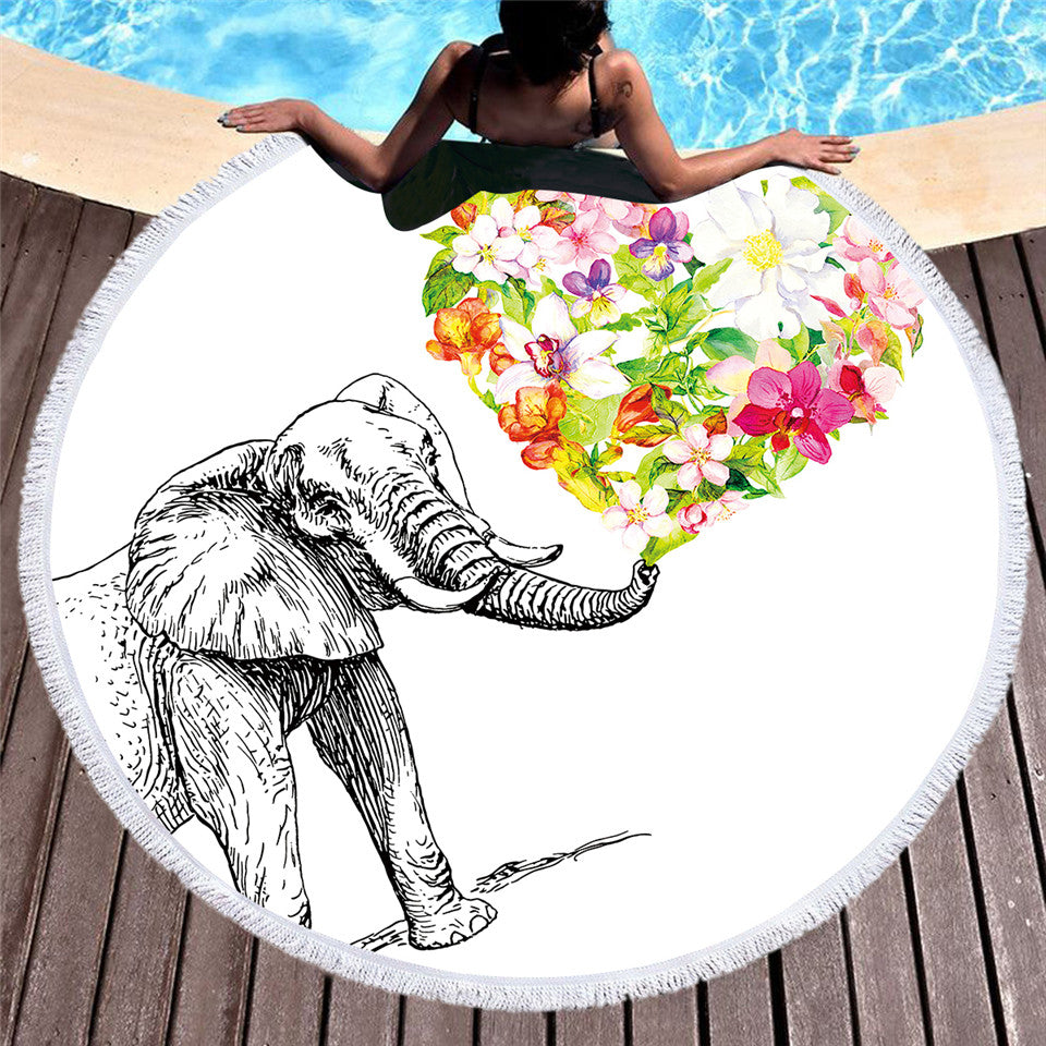Indian Elephant Round Beach Towel Bohemian Tassel Tapestry Floral Heart  White 150cm - Dropshipful.com