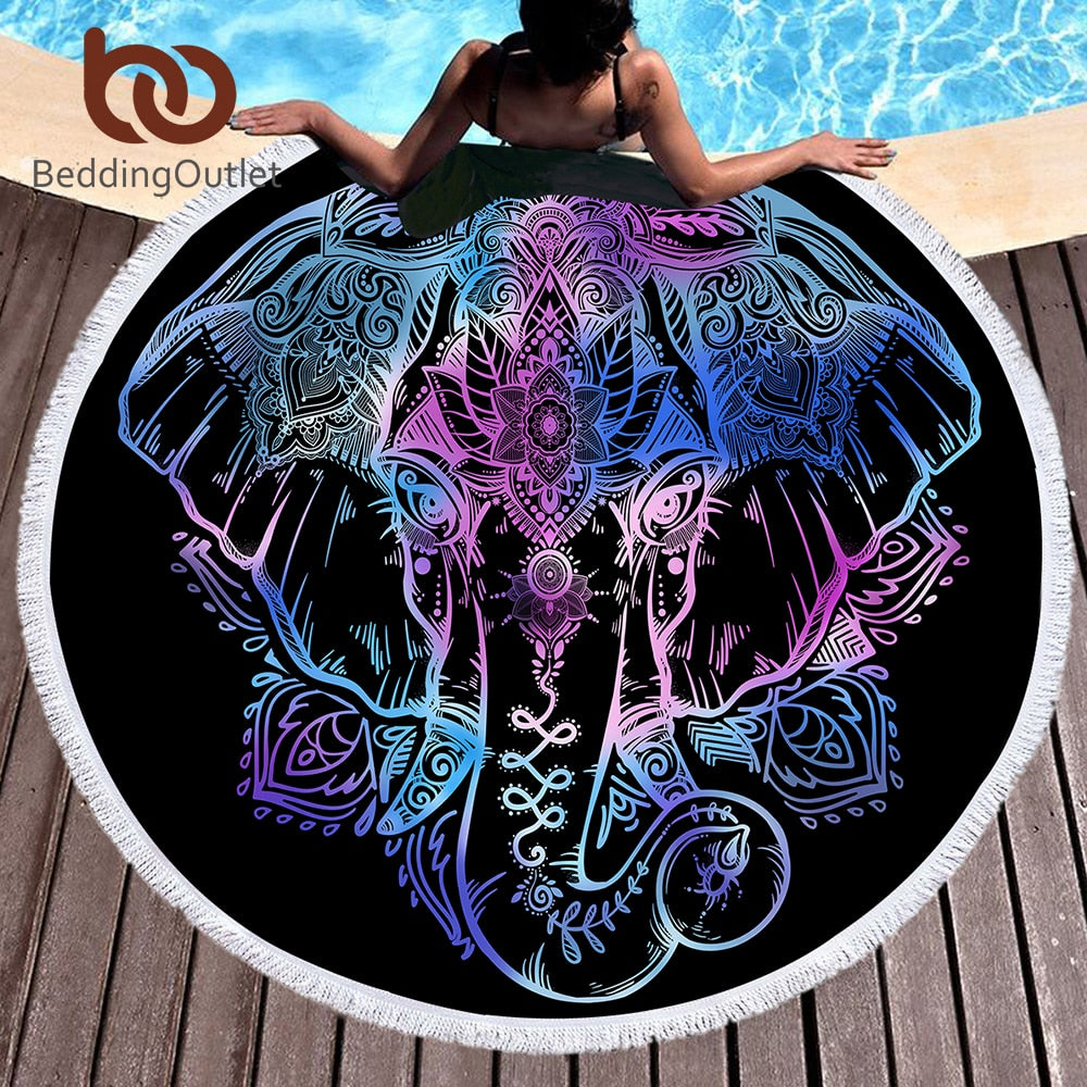 Dropshipful Bohemian Elephant Round Beach Towel Boho Indian Tassel Tapestry Floral Yoga Mat Lotus Flower Toalla Blanket 150cm - Dropshipful.com
