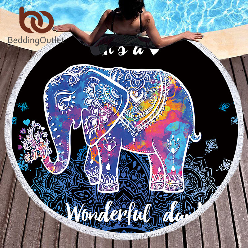 Dropshipful Colorful Elephant Round Beach Towel Boho Indian Tassel Tapestry Yoga Mat Animal Printed Toalla Blanket 150cm - Dropshipful.com
