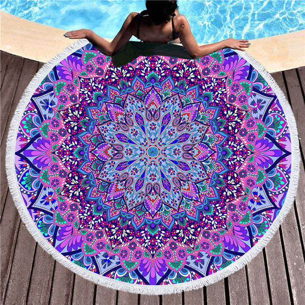 Dropshipful Bohemian Round Beach Towel Blue and Purple Tassel Tapestry Microfiber Yoga Mat Boho Toalla Blanket 150cm Fashion - Dropshipful.com