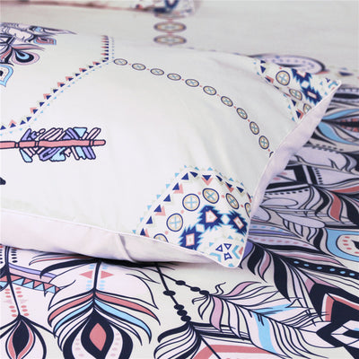 Dropship Indian Feathers Bedding Set Tribal Arrow Boho Duvet Cover 3Pcs - Dropshipful.com