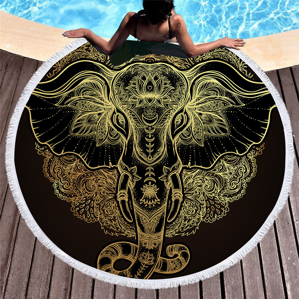Boho Elephant Microfiber Blanket Large Round Beach Towel 150cm  Sunblock Cover Up - Dropshipful.com