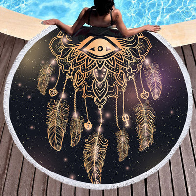 Dreamcatcher Printed Microfiber Bath Towel Large Round Beach Towel Summer  Tassel Tapestry 150cm - Dropshipful.com