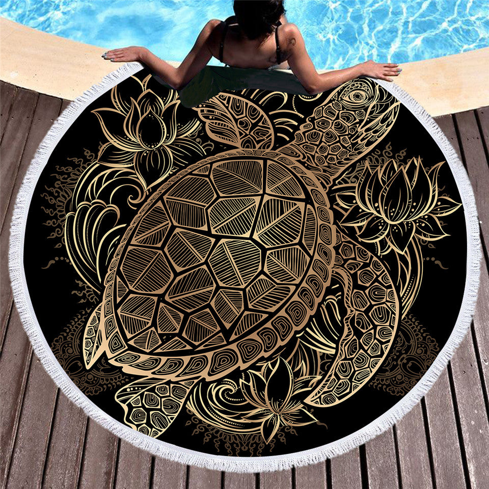 Turtles Bohemian Tassel Tapestry Flower Round Beach Towel Large for Adults Microfiber 150cm - Dropshipful.com