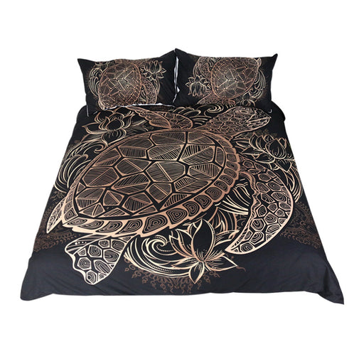 Dropshipful  Turtles Bedding Set Animal Tortoise Duvet Bed Cover Set  3pcs - Dropshipful.com