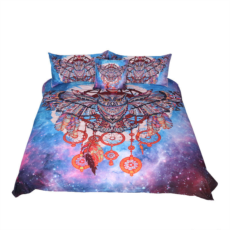 Dropshipful Owl Dreamcatcher with Feathers Bedding Set Watercolor Bohemia Galaxy - Dropshipful.com
