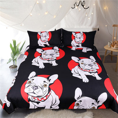 Dropshipful Cartoon Bulldog Bedding Set Black and Red Quilt Cover With Pillowcases  3-Piece - Dropshipful.com