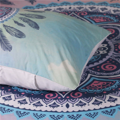 Dropship Mandala Bedding Set Pink and Blue Duvet Cover With Pillowcases Feathers - Dropshipful.com
