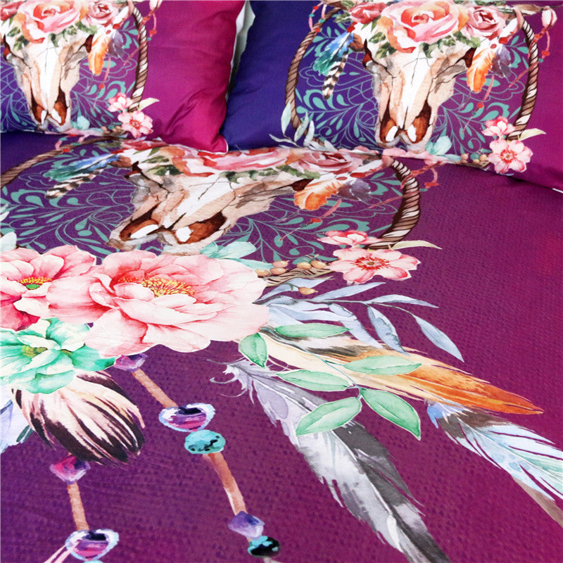 Dropshipful Floral Dreamcatcher Bedding Set  Hipster Feathers Skull Duvet Cover - Dropshipful.com