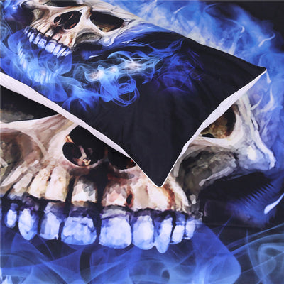 Dropshipful Flame Skull Bedding Set  3D Printed Duvet Cover Blue Fire  3pcs - Dropshipful.com