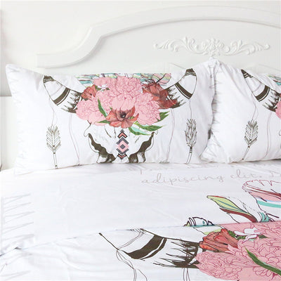 Dropshipful Bull Head Skull Duvet Cover Set Illustration of Skeleton Bull 3 Pcs - Dropshipful.com