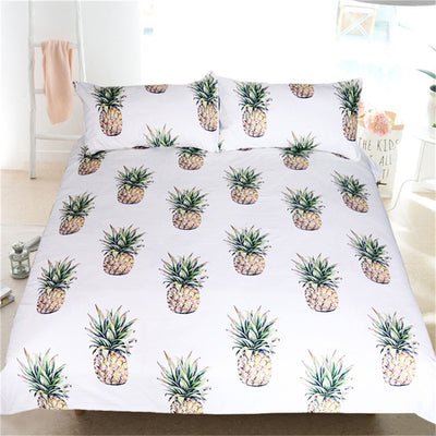 Dropship 3d Pineapple Bedding Set Tropical Fruit Print Bedspreads Kids Bed Set 3Pcs - Dropshipful.com