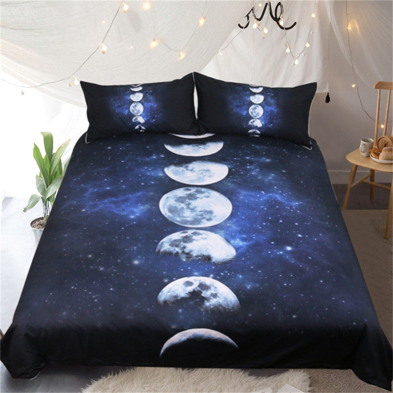 Dropship 3D Moon Eclipse Bedding Set Galaxy Duvet Cover Pillowcases - Dropshipful.com
