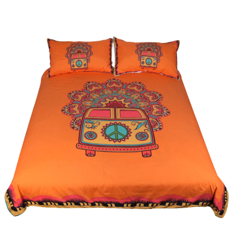 Dropshipful Hippie Vintage Car Bedding Set Orange Mandala Duvet Cover Set  3pcs - Dropshipful.com