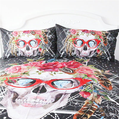Dropshipful Sugar Skull with Glasses Bedding Set Pop Art Duvet Cover Set 3 Pieces - Dropshipful.com