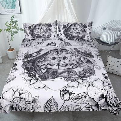 Dropshipful Skull Bedding Set Floral Double Love Duvet Cover 3 Pieces - Dropshipful.com