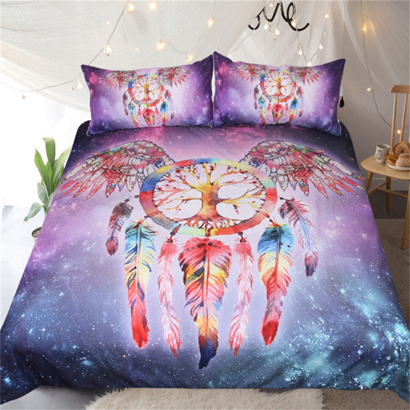 Dropshipful Dreamcatcher Bedding Set Colorful Feathers Duvet Cover Boho Life Tree  3pcs - Dropshipful.com