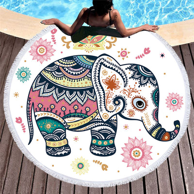 Floral Boho Round Beach Towel Indian Elephant Tassel Tapestry Yoga Mat Colorful 150cm - Dropshipful.com