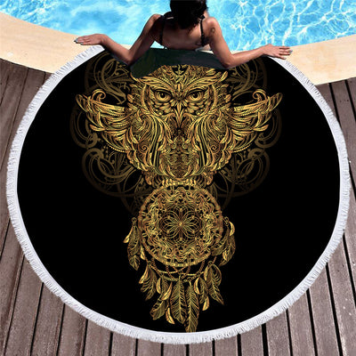 Summer Round Beach Towel Microfiber Bath Towel Large for Adults Owl Dreamcatcher 150cm - Dropshipful.com