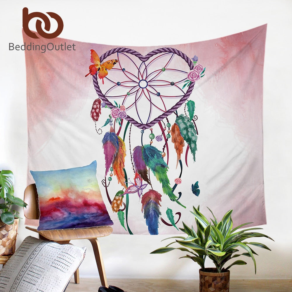 Dropshipful Bohemian Tapestry Heart Dreamcatcher Pink Microfiber Fabric Wall Hanging Home Decor Tapestry Girls Beach Mat - Dropshipful.com