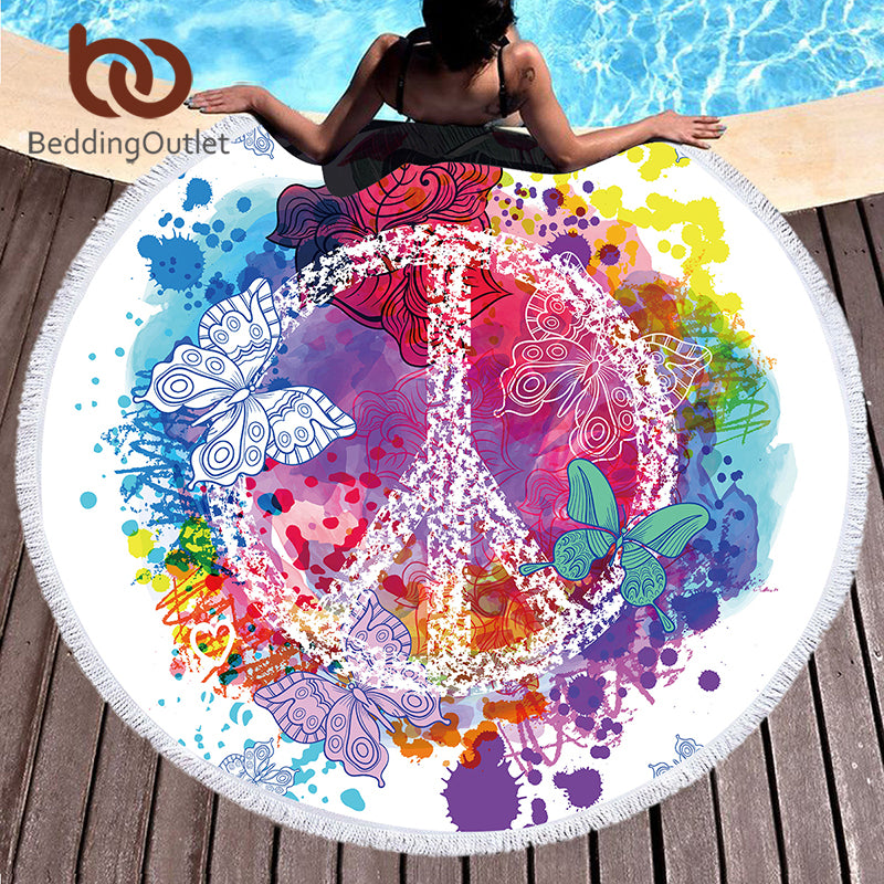 Dropshipful Butterfly Round Beach Towel for Woman Summer Sunblock Toalla Tassel Blanket 150cm Microfiber Cover Up Tapestry - Dropshipful.com