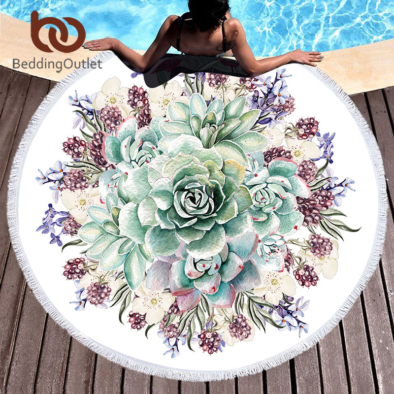 Dropshipful 3d Printed Tassel Tapestry Large Round Beach Towel for Adults Summer Microfiber Toalla Blanket Floral Yoga Mat - Dropshipful.com