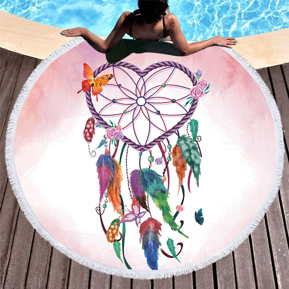 Mandala Tassel Tapestry Round Beach Towel  Dreamcatcher Microfiber Toalla Cover Up Blanket 150cm - Dropshipful.com