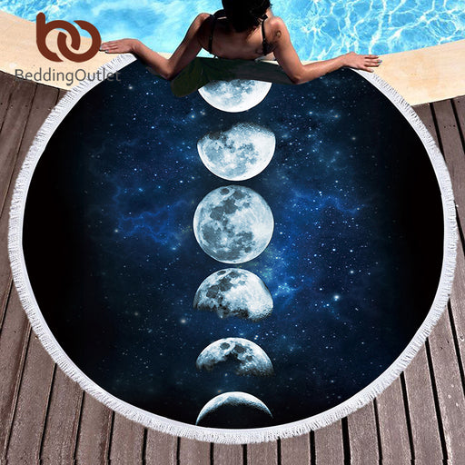 Dropshipful 3d Printed Microfiber Bath Towel Large Round Beach Towel for Adults Kid Summer Toalla Moon Eclipse Tassel Tapestry - Dropshipful.com