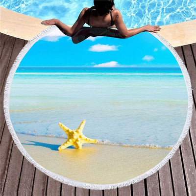Dropshipful Large Round Beach Towel for Adults Scenic Starfish Tassel Tapestry Microfiber Toalla Blanket Serviette De Plage - Dropshipful.com