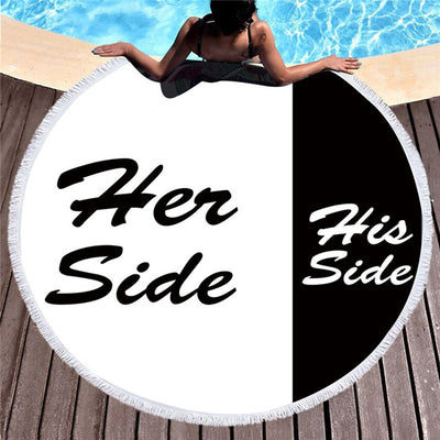 Summer Couples Microfiber Large Round Beach Towel His and Her Side 150cm - Dropshipful.com