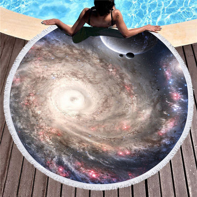 Galaxy Large Round Beach Towel Microfiber Cover Up Tassel Tapestry Serviette De Plage Toalla Blanket 150cm - Dropshipful.com