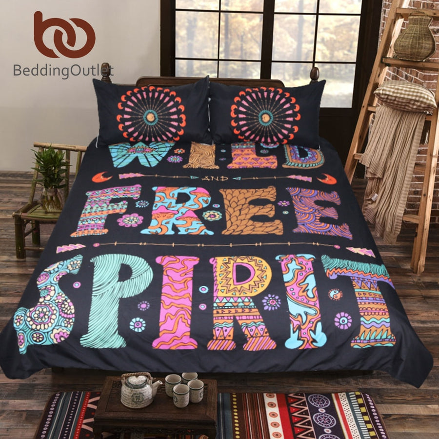 Dropshipful Bohemian Bedding Set Queen Mandala Duvet Cover Single Colored Letters Printed Bed Cover Boho Bedclothes 3-Piece - Dropshipful.com