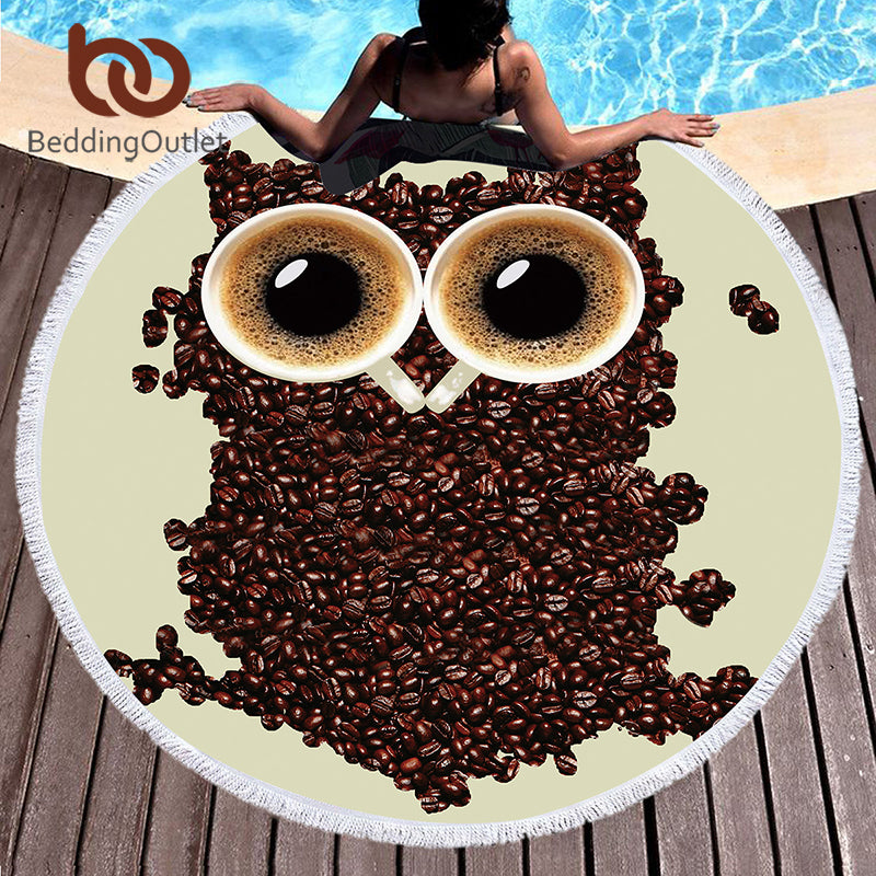 Dropshipful 3d Printed Microfiber Bath Towel Round Beach Towel for Adults Kid Serviette De Plage Toalla Owl Tassel Tapestry - Dropshipful.com