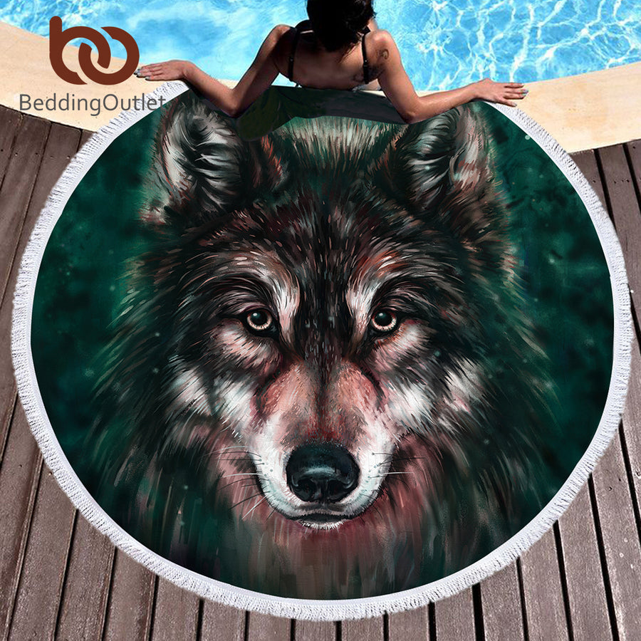 Dropshipful 3d Printed Microfiber Large Towel Round Beach Towel Boys Summer Sunblock Wolf Tassel Blanket 150cm Tapestry - Dropshipful.com