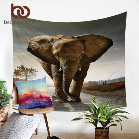 Dropshipful 3D Elephant Tapestry Vivid Printed Wall Carpet India Hanging Wall Tapestries Polyester Picnic Sheet 2 Sizes Hot - Dropshipful.com