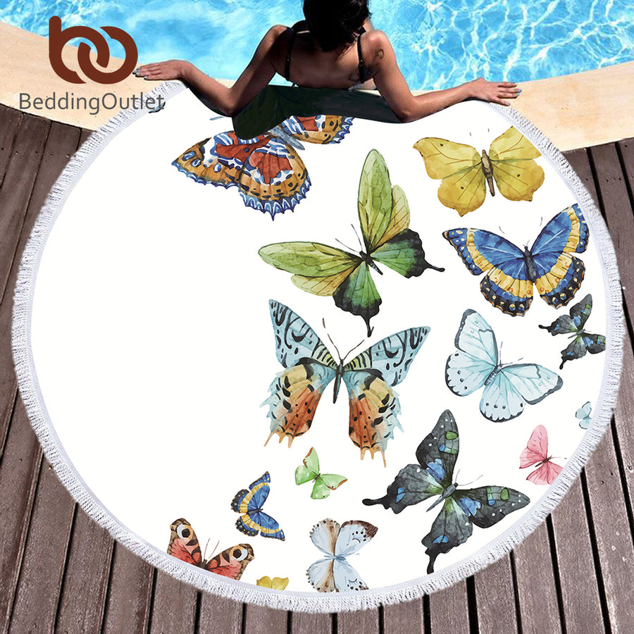 Dropshipful Butterfly Microfiber Towel Large Round Beach Towel for Adults Kids Summer Toalla Tassel Blanket Tapestry 150cm - Dropshipful.com
