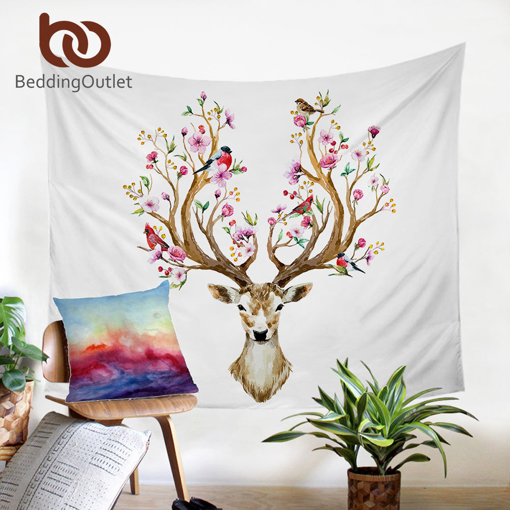 Dropshipful Elk Tapestry Floral Moose Wall Hanging Flowers Animal Reindeer Printed Wall Carpet Decorative Tapestry 2 Sizes - Dropshipful.com