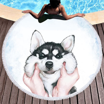 Husky Kids Microfiber Round Beach Towel bath Towel Large 150cm - Dropshipful.com