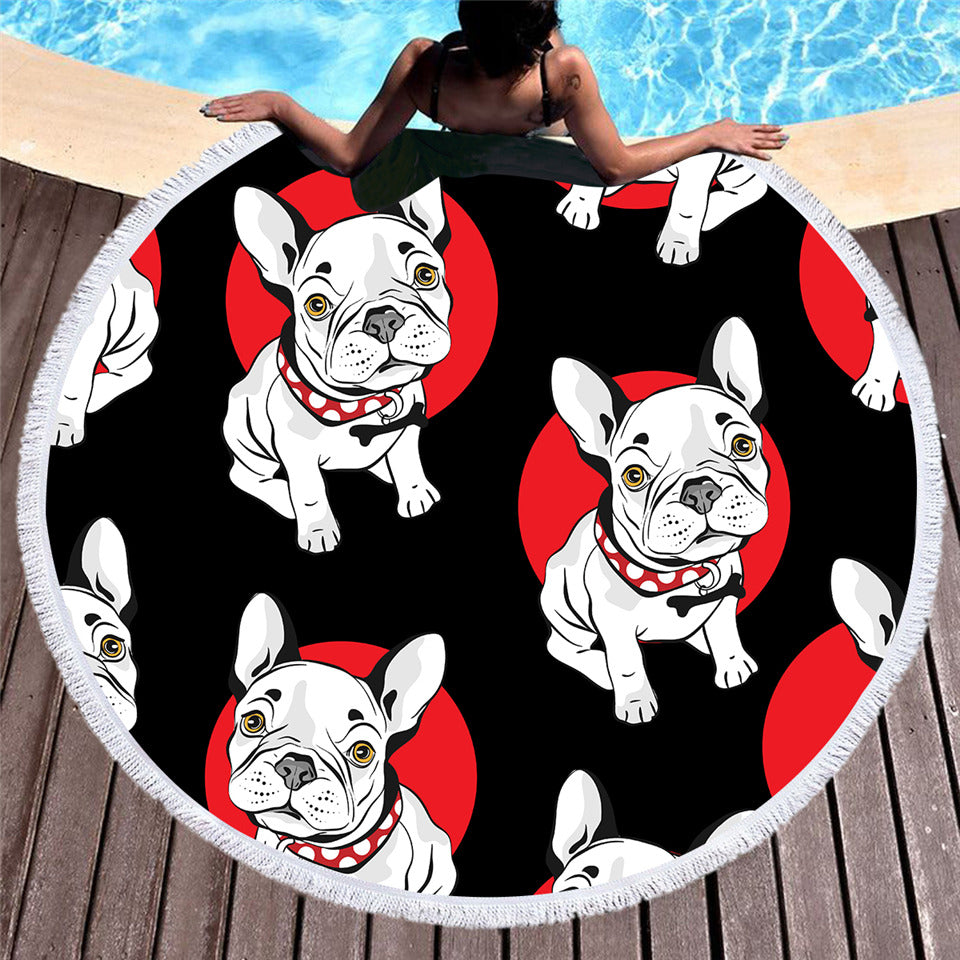 Dropship Bulldog Round Beach Towel Serviette De Plage Cartoon Microfiber 150cm - Dropshipful.com