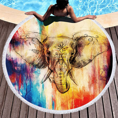 Microfiber Round Beach Towel Tassel Tapestry 150cm Watercolor Elephant Summer Yoga Towel Toalla Blanket - Dropshipful.com
