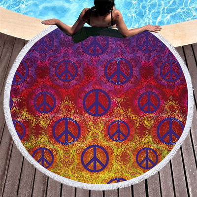 Dropship Colorful Microfiber Large Round Beach Towel Peace Symbol  Towel 150cm - Dropshipful.com