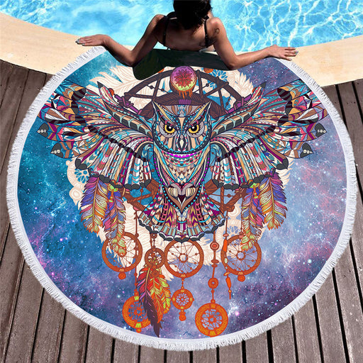 Animal Large Round Beach Towel With Tassels Purple Owl  Microfiber Towel 150cm - Dropshipful.com