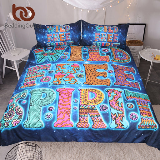 Dropshipful Bohemian Bedding Set Queen Galaxy Floral Printed Duvet Cover Letters Blue Home Textiles Boho Bedclothes 3-Piece - Dropshipful.com