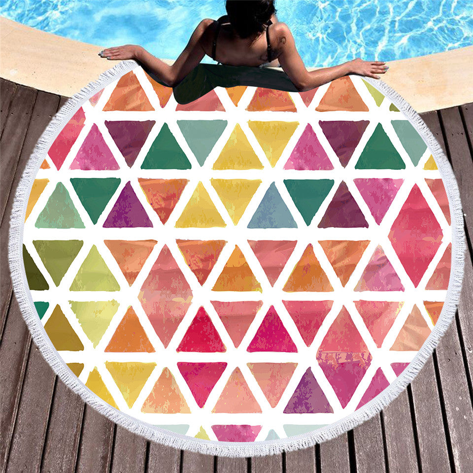 Colorful Microfiber Geometric Large Round Beach Towel 150cm - Dropshipful.com