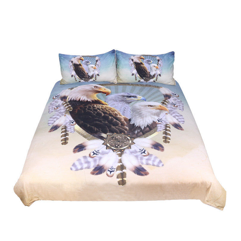 Dropshipful Three Eagles Bedding Set Feathers Dreamcatcher Duvet Cover  3pcs - Dropshipful.com