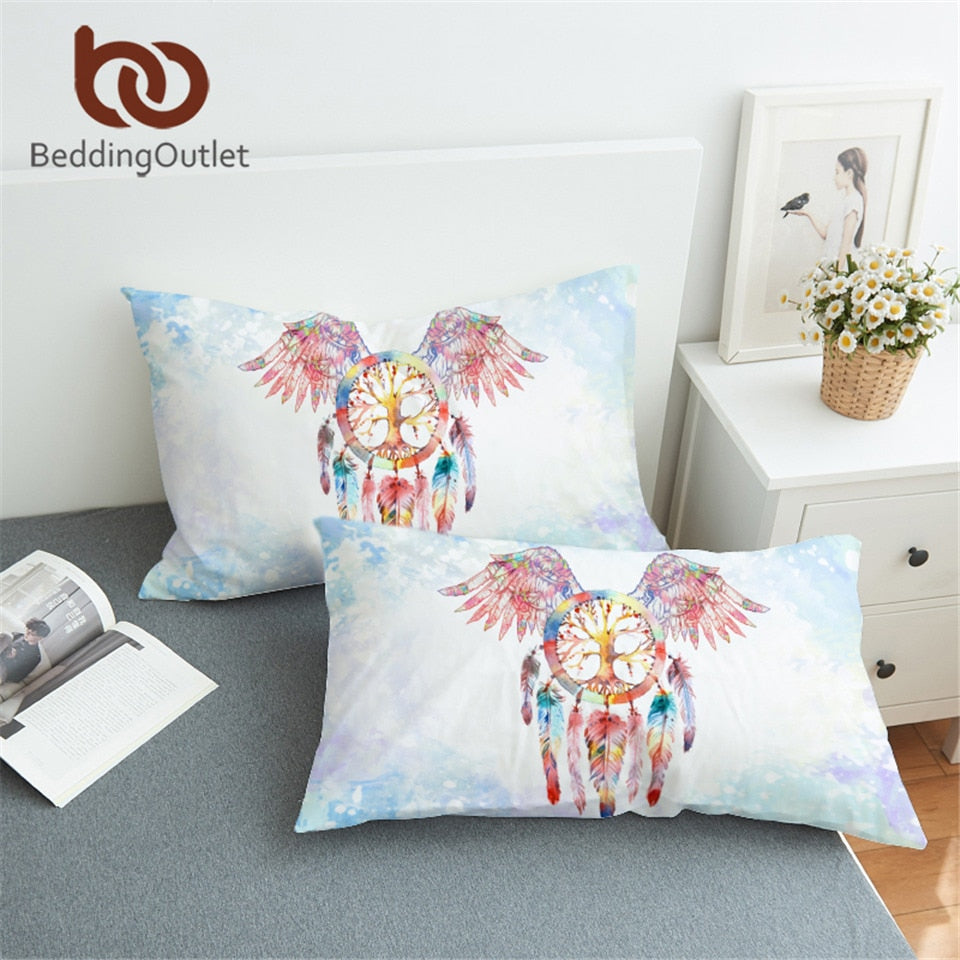 Dropshipful Dreamcatcher Pillowcase Feathers Print Pillow Case Angel Wings Girls Bedding Pillow Cover 50x75cm 50x90cm - Dropshipful.com